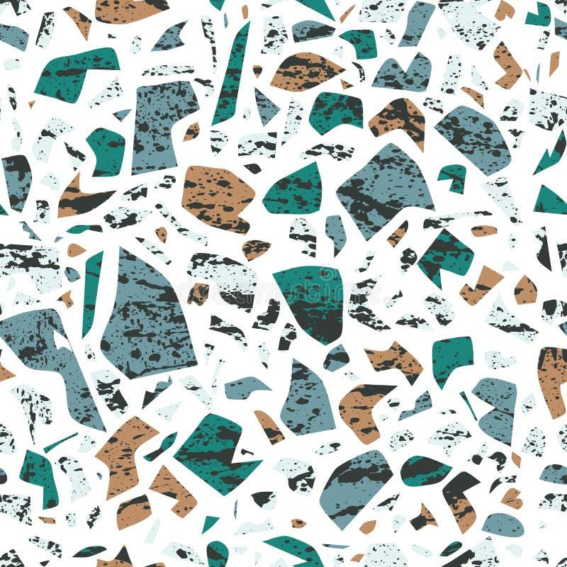 Vectorterrazzo naadloos patroon, muurschilderingachtergrond met chaotische vlekken vector illustratie
