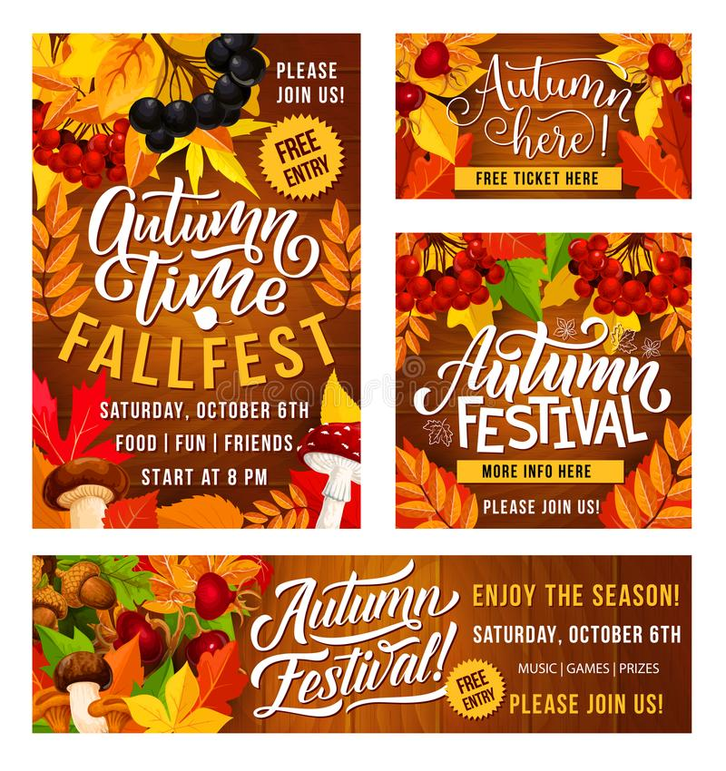 Vectorthanksgiving day fest affiches en banners royalty-vrije illustratie