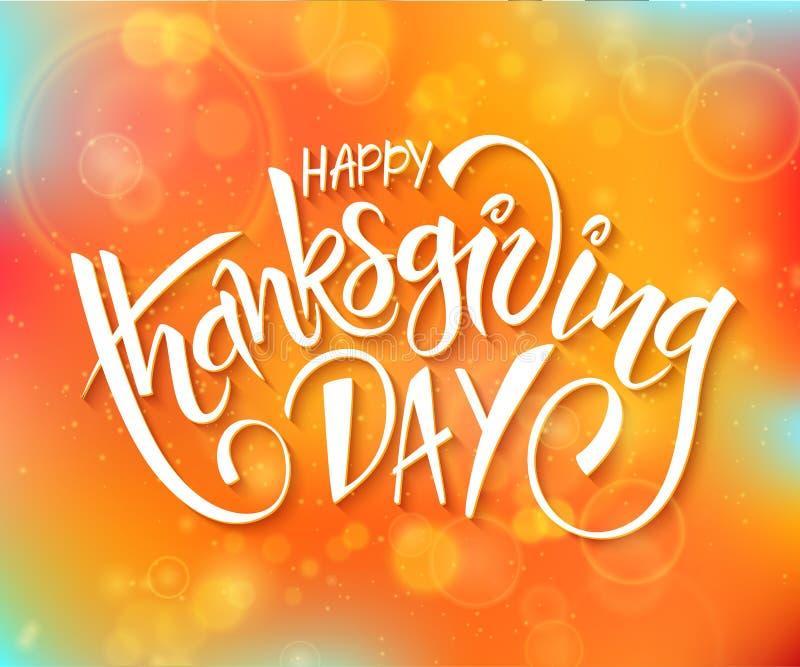 Vectorthanksgiving daygroet het van letters voorzien uitdrukking - gelukkig thanksgiving day - op de achtergrond van de onduideli stock illustratie