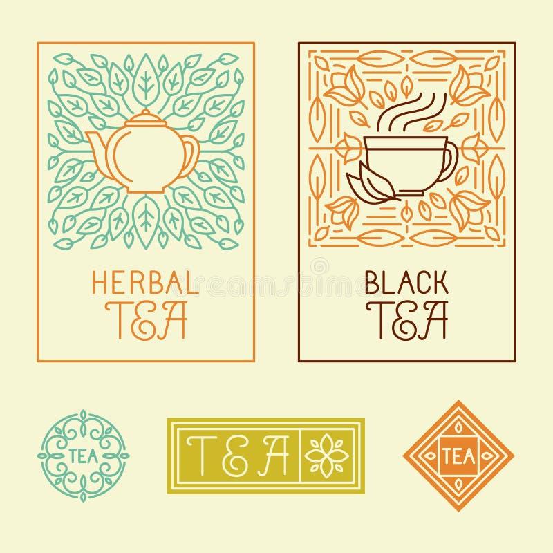 Vectorthee verpakkende etiketten en kentekens in in lineaire stijl vector illustratie