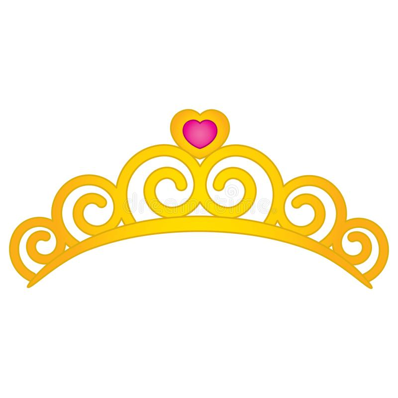 Vectortiara met Hartembleem stock illustratie