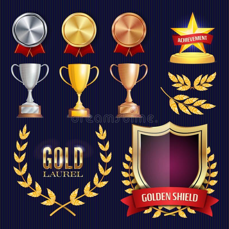 Vectortoekenning en Trofeeëninzameling Gouden Kentekens en Etiketten Kampioenschapsontwerp eerste, tweede, 3de Plaats gouden royalty-vrije illustratie