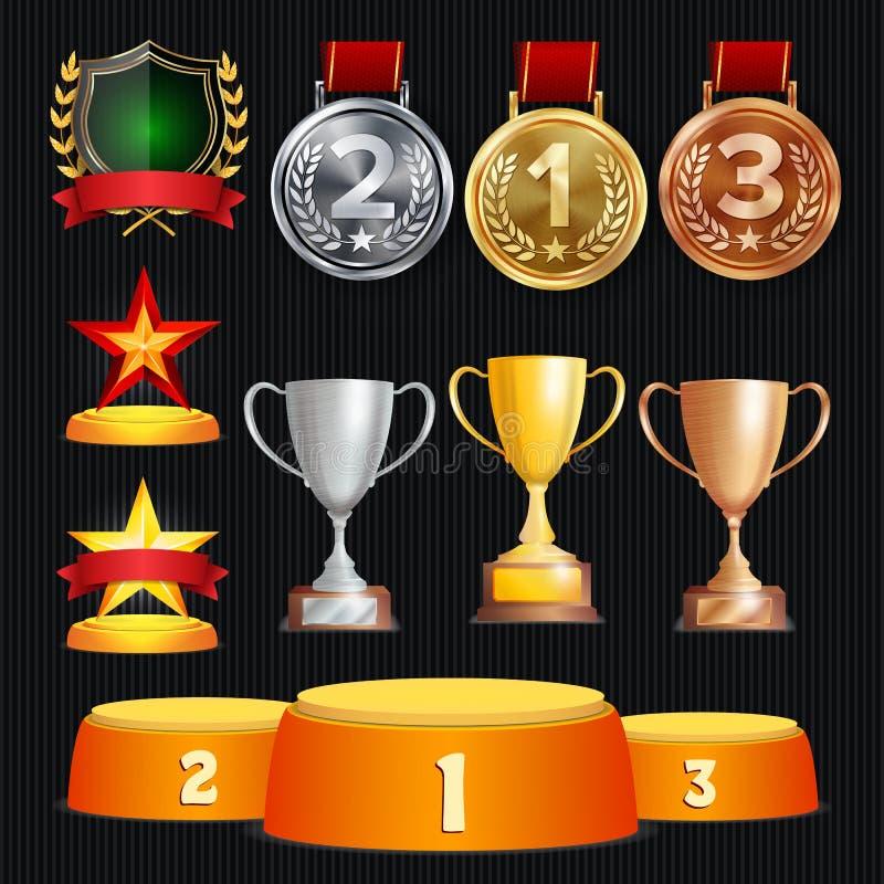 Vectortoekenning en Trofeeëninzameling Gouden Kentekens en Etiketten Kampioenschapsontwerp eerste, tweede, 3de Plaats gouden vector illustratie