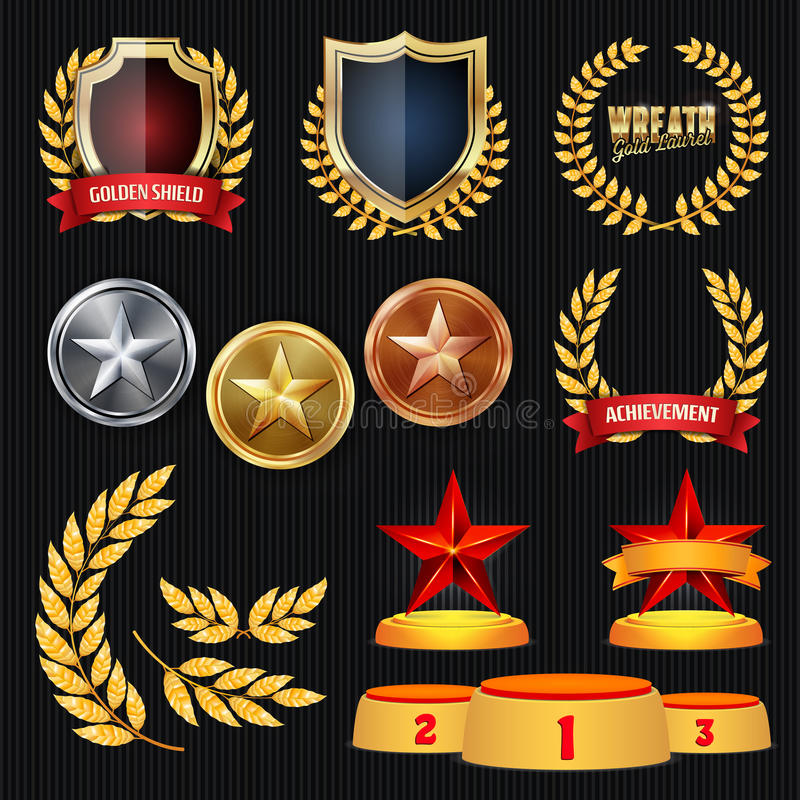 Vectortoekenning en Trofeeëninzameling Gouden Kentekens en Etiketten Kampioenschapsontwerp eerste, tweede, 3de Plaats gouden stock illustratie