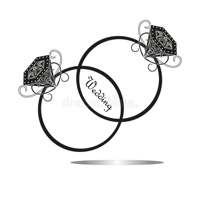 Vectortrouwringen met diamanten royalty-vrije illustratie