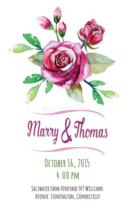 Vectoruitnodigingskaart met waterverf bloemen royalty-vrije illustratie