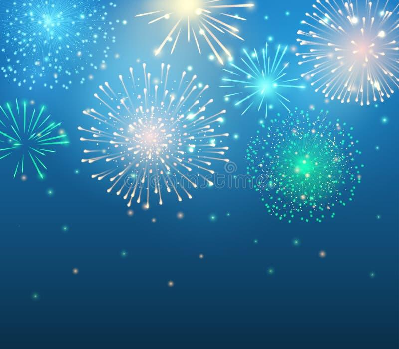 Vectorvakantie kleurrijk vuurwerk op de blauwe achtergrond royalty-vrije illustratie