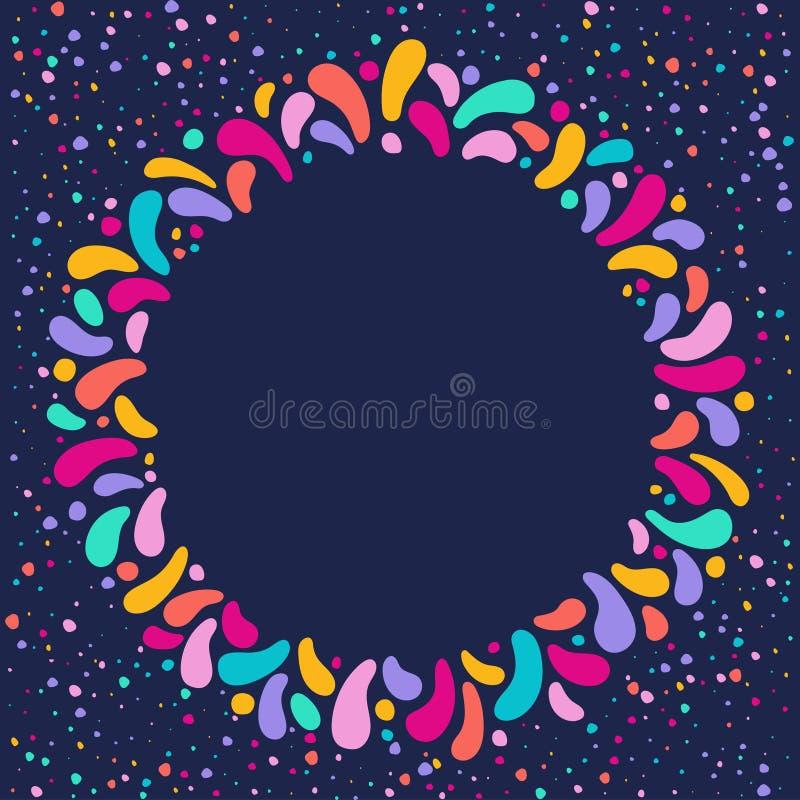 Vectorvakantie om kader met ornament van veelkleurige dalingen Voor Carnaval-ontwerp, festivallen, thema's van liefde, kinderen stock illustratie