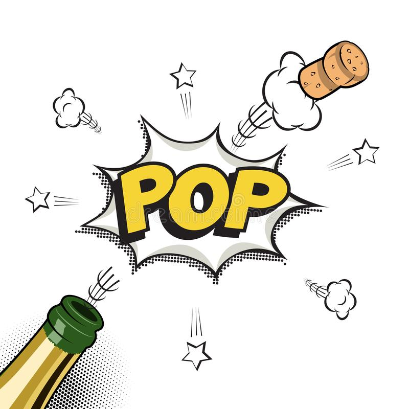 Vectorvakantieelement in grappige boek of mangastijl Champagne-fles met vliegende cork en Pop woord stock illustratie