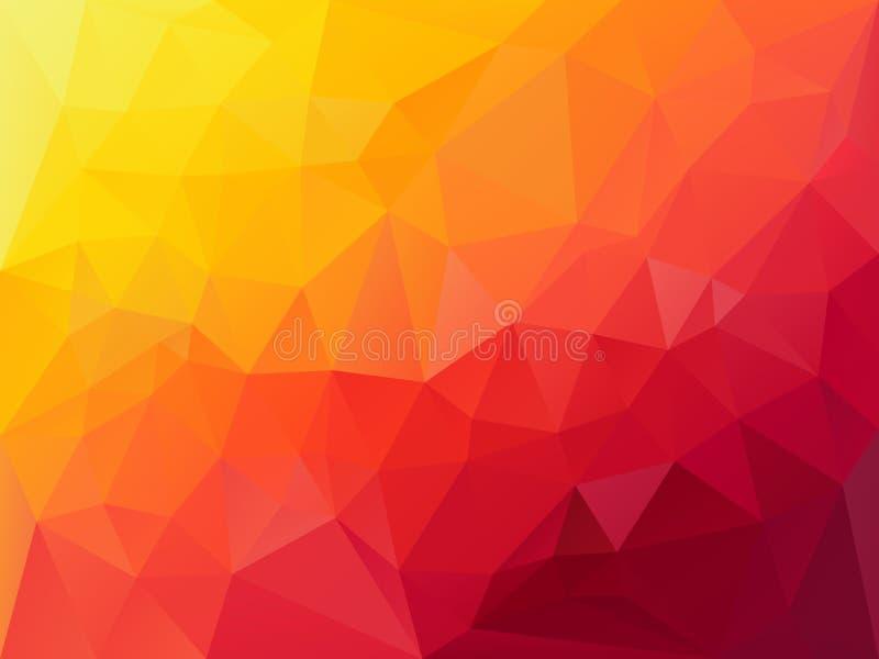 Vectorveelhoekachtergrond met een driehoekspatroon in de trillende gradiënt van de hoz rode oranjegele kleur vector illustratie