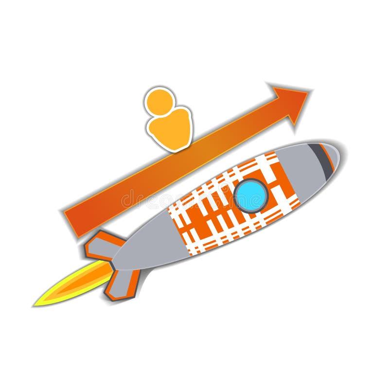 Vectorverhogings Bedrijfsillustratie, Raket met de Mens en Geïsoleerde Pijl stock illustratie