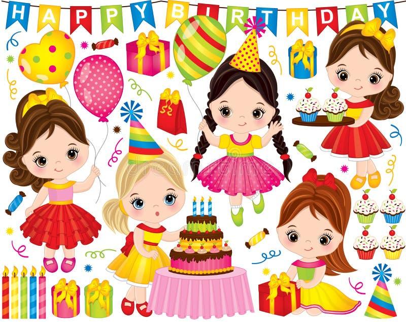 Vectorverjaardag die met Leuke Meisjes en Partijelementen wordt geplaatst vector illustratie
