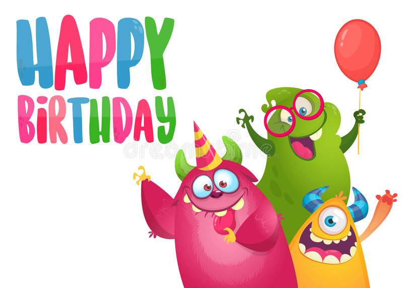 Vectorverjaardagskaart met leuke grappige monsters in beeldverhaalstijl royalty-vrije illustratie