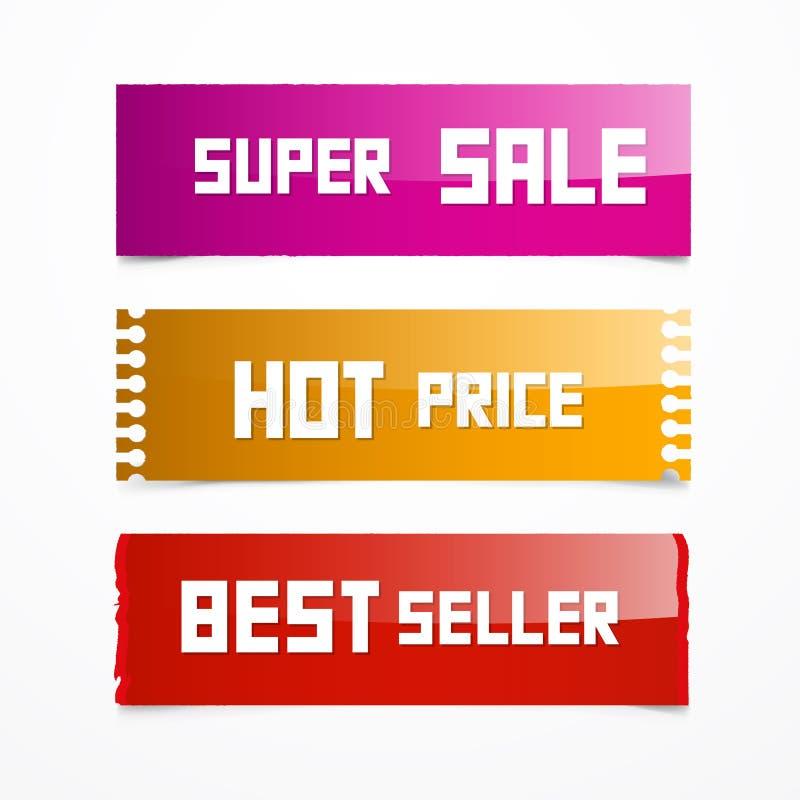 Vectorverkoop Roze, Oranje en Rode Etiketten vector illustratie