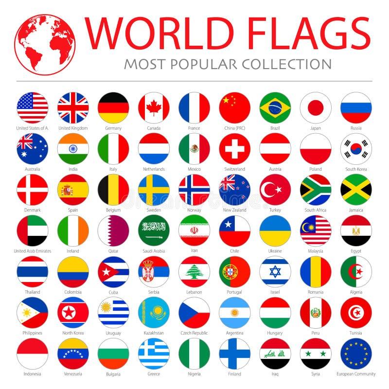 vectorverzameling van wereldvlaggen 63 hoogwaardige schone ronde iconen royalty-vrije illustratie