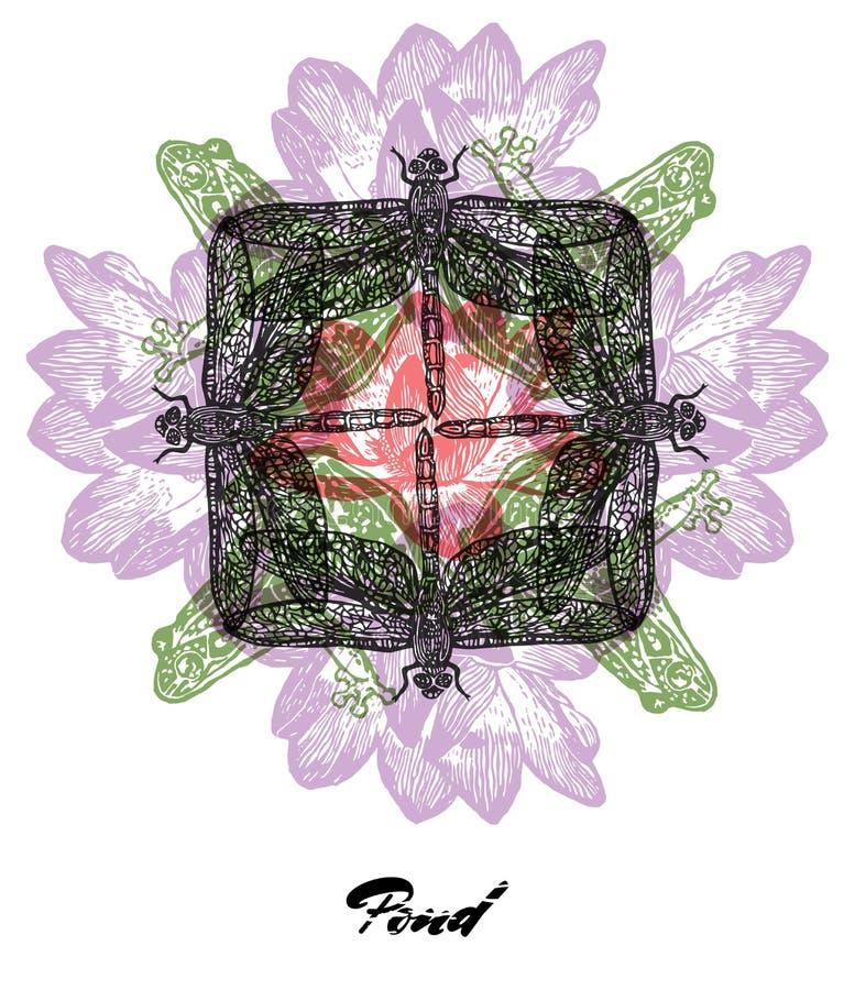 Vectorvijverstemming Gegraveerde fractal afzetsamenstelling royalty-vrije illustratie