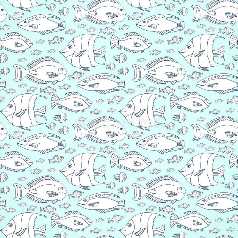 Vectorvissenpatroon Hand getrokken overzees het levens vector naadloos patroon stock illustratie