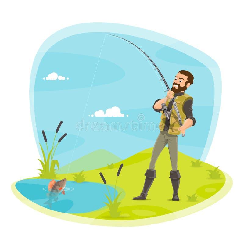Download Vectorvisser Visserij En Vissenvangst Bij Meer Vector Illustratie - Illustratie bestaande uit mensen, mens: 107707404