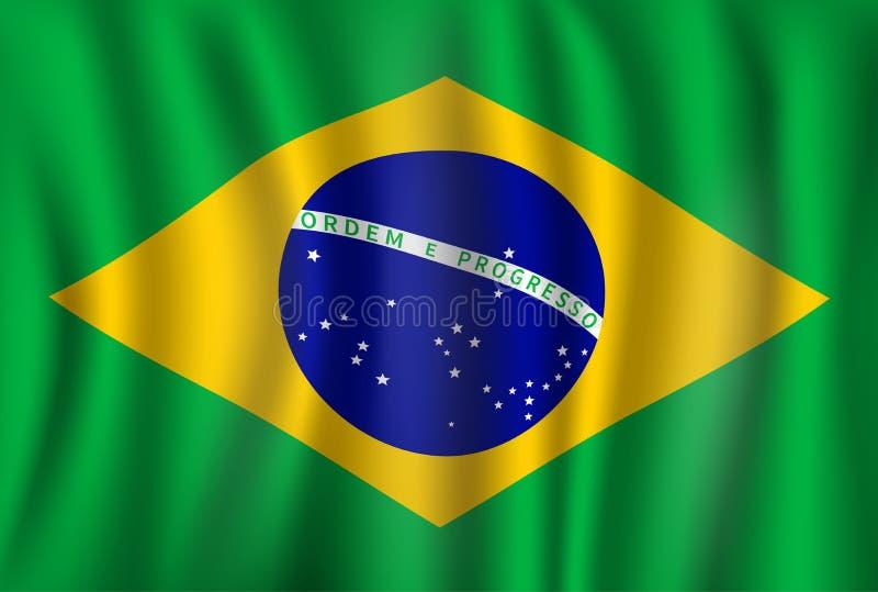 Vectorvlag van Brazilië Braziliaans nationaal symbool stock illustratie