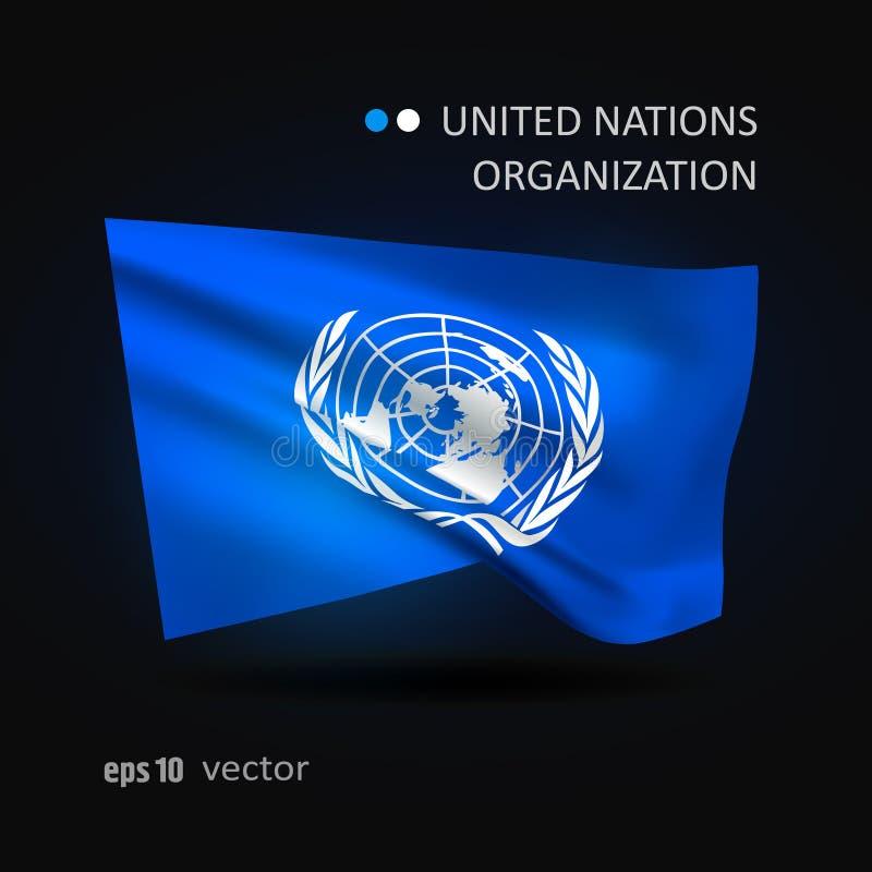 Vectorvlag van de Organisatie van de Verenigde Naties vector illustratie