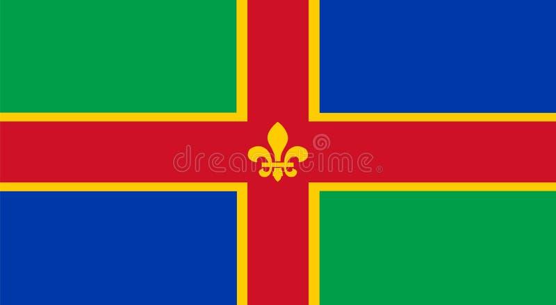 Vectorvlag van de Provincie van Lincolnshire, Engeland Het Verenigd Koninkrijk stock illustratie