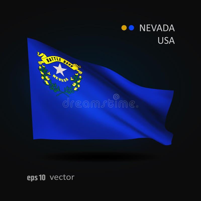 Vectorvlag van de staat van Nevada stock illustratie