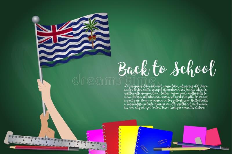 Vectorvlag van het Britse Grondgebied van Indische Oceaan op Zwarte bordachtergrond Onderwijsachtergrond met Handen het Steunen v stock illustratie