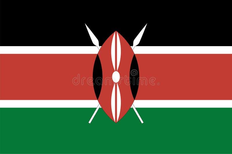 Vectorvlag van Kenia Aandeel2:3 Keniaanse nationale vlag Volwassen mannetjes van Waterbuck stock illustratie