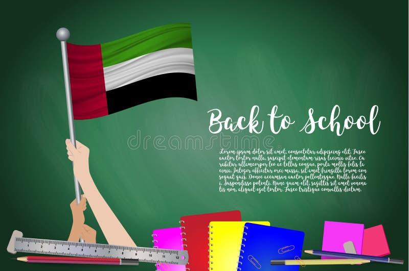 Vectorvlag van Verenigde Arabische Emiraten op Zwarte bordbackgrou royalty-vrije illustratie