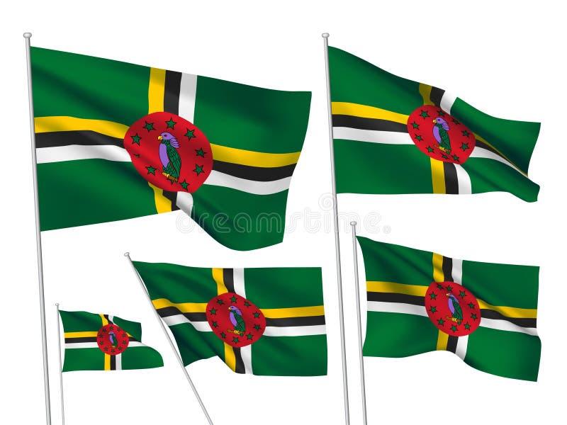 Vectorvlaggen van Dominica stock illustratie