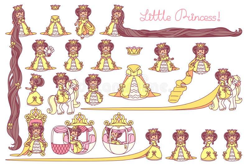 Vectorvlakte Weinig Prinsesreeks royalty-vrije illustratie