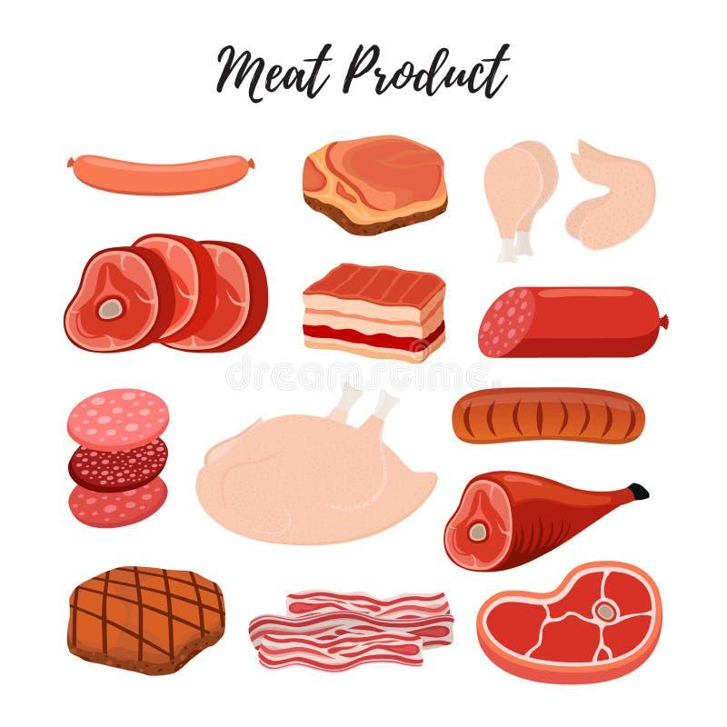 Vectorvleeswaren, slagerij Rundvlees, lendestuk, ham, kip, vector illustratie