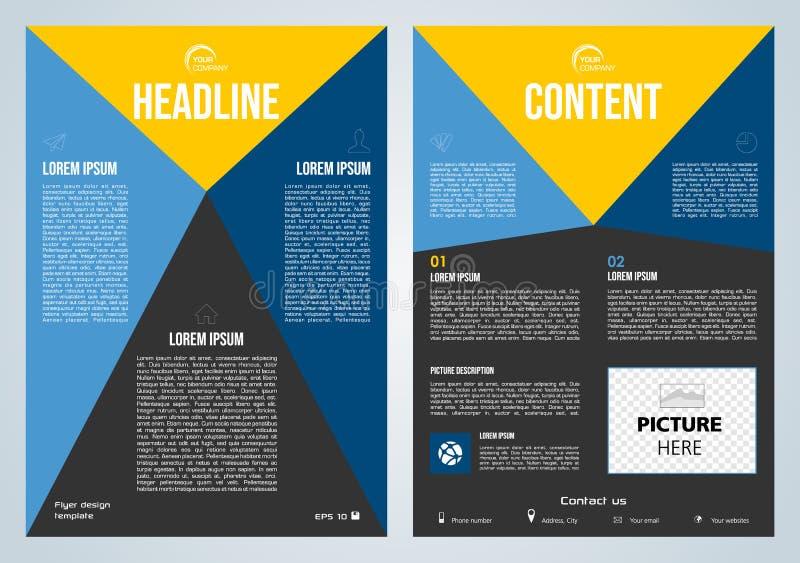 Vectorvlieger, collectieve zaken, jaarverslag, brochureontwerp en dekkingspresentatie met blauwe en gele driehoek stock afbeelding
