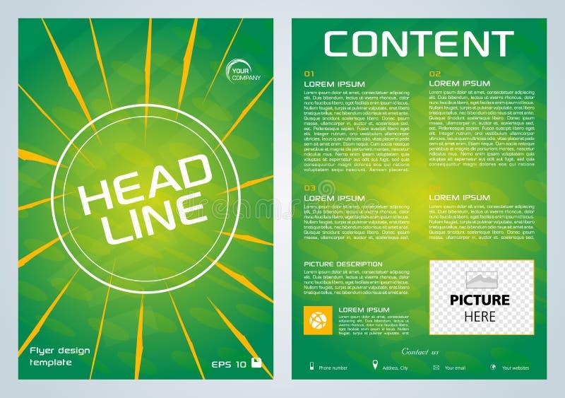 Vectorvlieger, collectieve zaken, jaarverslag, brochureontwerp en dekkingspresentatie met gele lijn op groene achtergrond stock illustratie