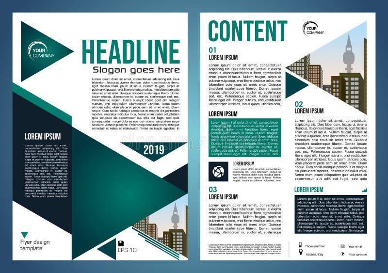 Vectorvlieger, collectieve zaken, jaarverslag, brochureontwerp en dekkingspresentatie met groene driehoek en stad royalty-vrije stock afbeelding