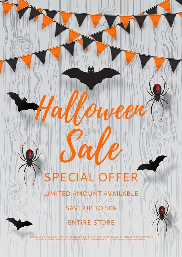 Vectorvlieger voor Halloween-verkoop royalty-vrije illustratie