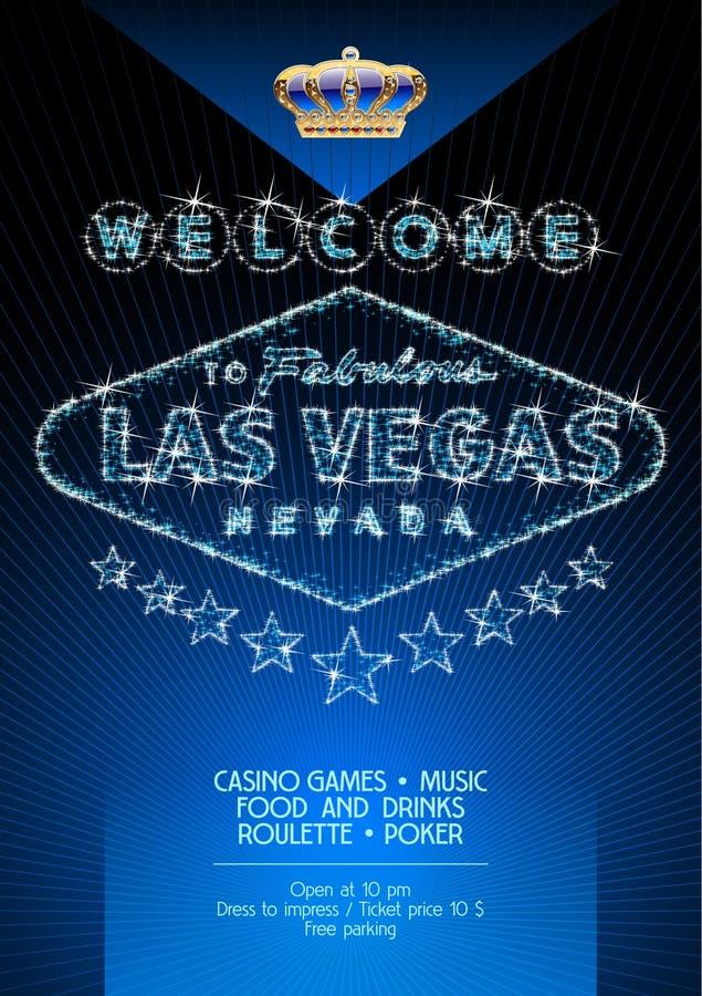 Vectorvlieger voor partij in casino in Las Vegas royalty-vrije illustratie