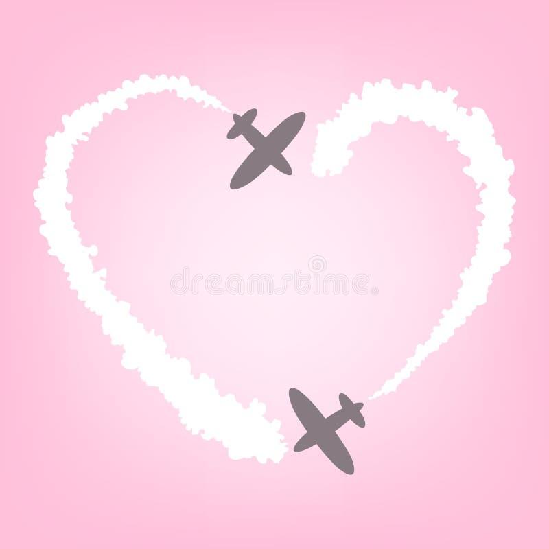 Vectorvliegtuig met rook in de vorm van hart Kaart voor Valentijnskaart stock illustratie
