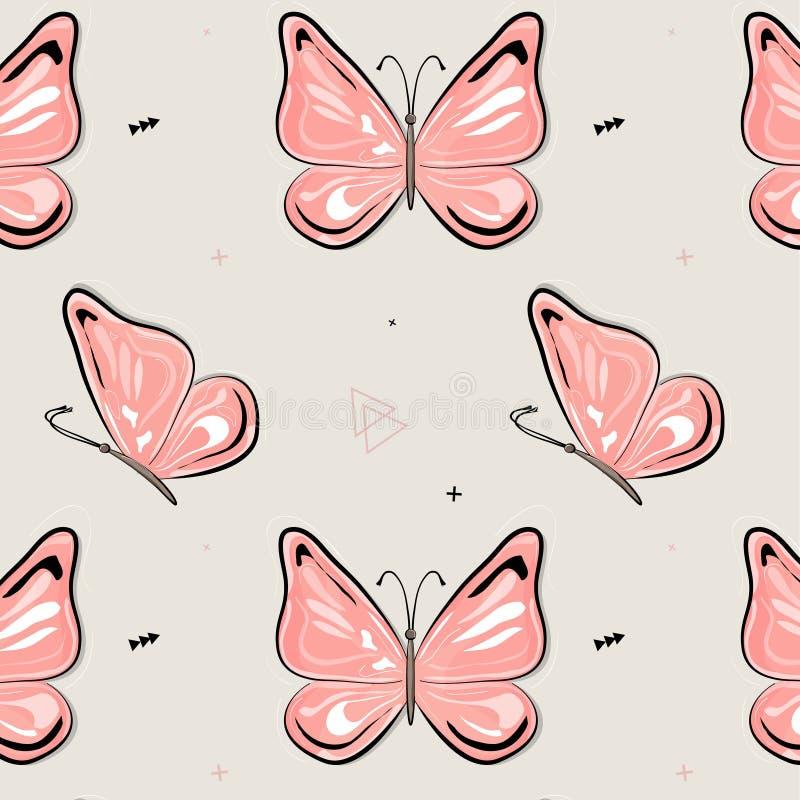 Vectorvlinderpatroon De achtergrond van het aardinsect De illustratie van de jonge geitjeszomer Natuurlijke de lente roze druk stock illustratie