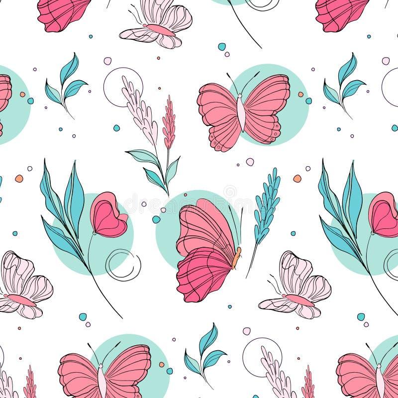 Vectorvlinderpatroon De achtergrond van het aardinsect met botanische bladeren De illustratie van de jonge geitjeszomer Natuurlij stock illustratie