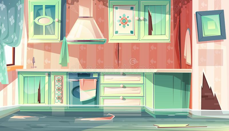 Vectorvloed in vuile keuken, de ruimte van de Provence stock illustratie