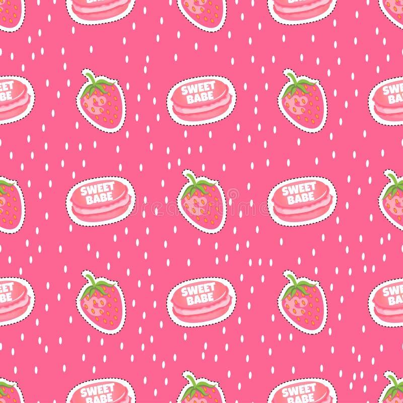 Vectorvoedsel Zoete babe Suikergoedstickers stock illustratie
