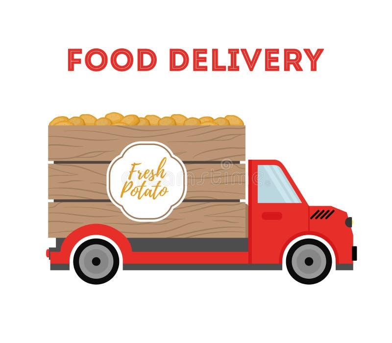 Vectorvoedsellevering - het verschepen van tuinproducten - aardappel Auto, vrachtwagen vector illustratie