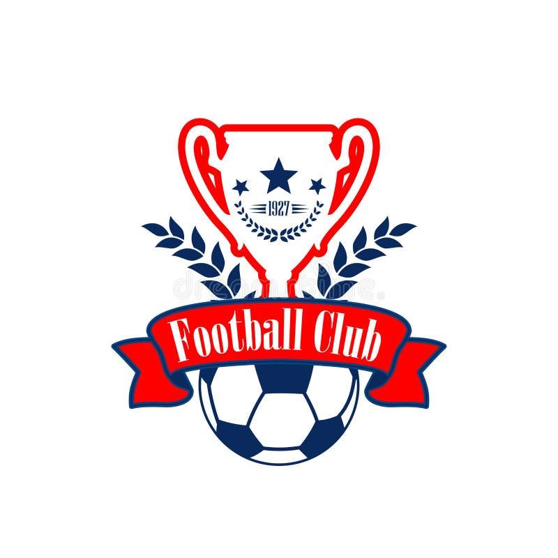 Vectorvoetbalkop en bal van club heraldisch pictogram royalty-vrije illustratie