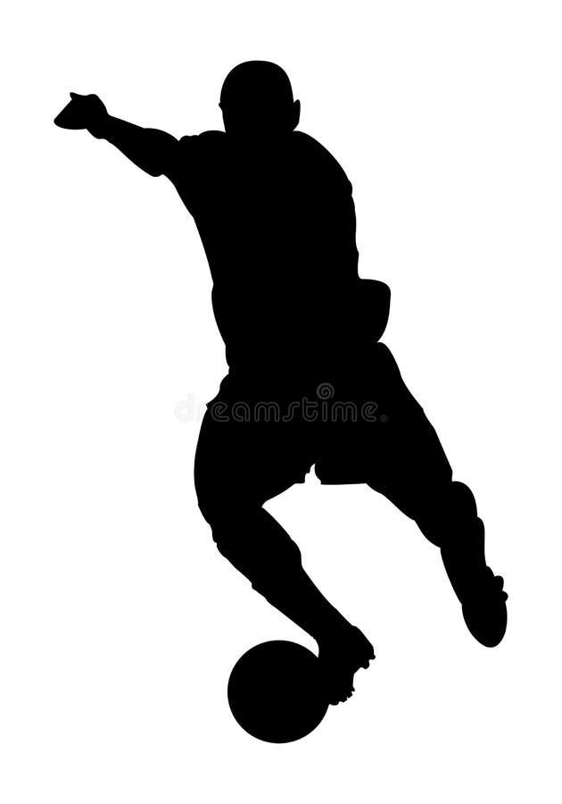 Vectorvoetballersilhouet stock afbeelding