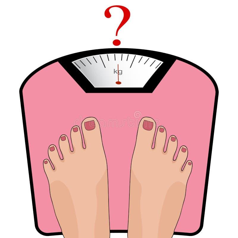 Vectorvoeten op de schaal Concept gewichtsverlies, gezonde het meest lifest stock illustratie