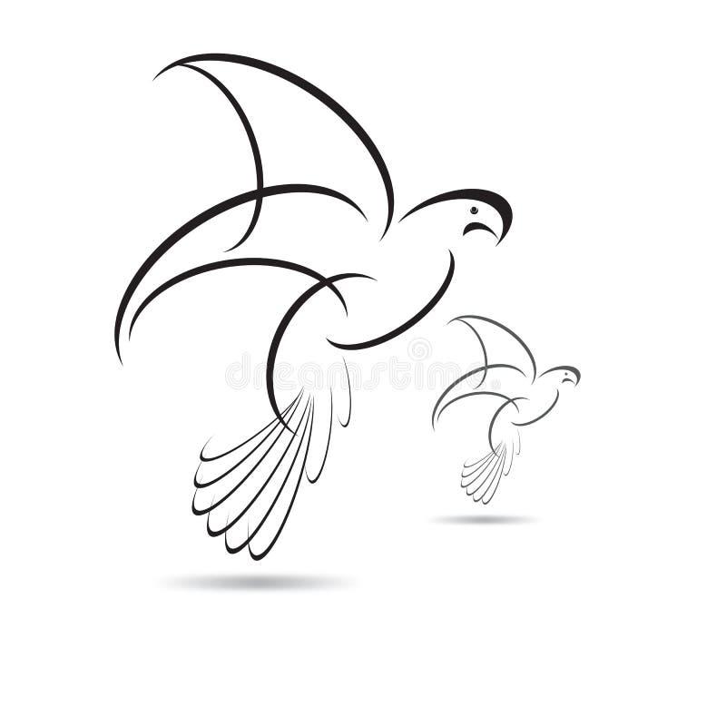 Vectorvogel Zwarte vleugels op witte achtergrond stock illustratie