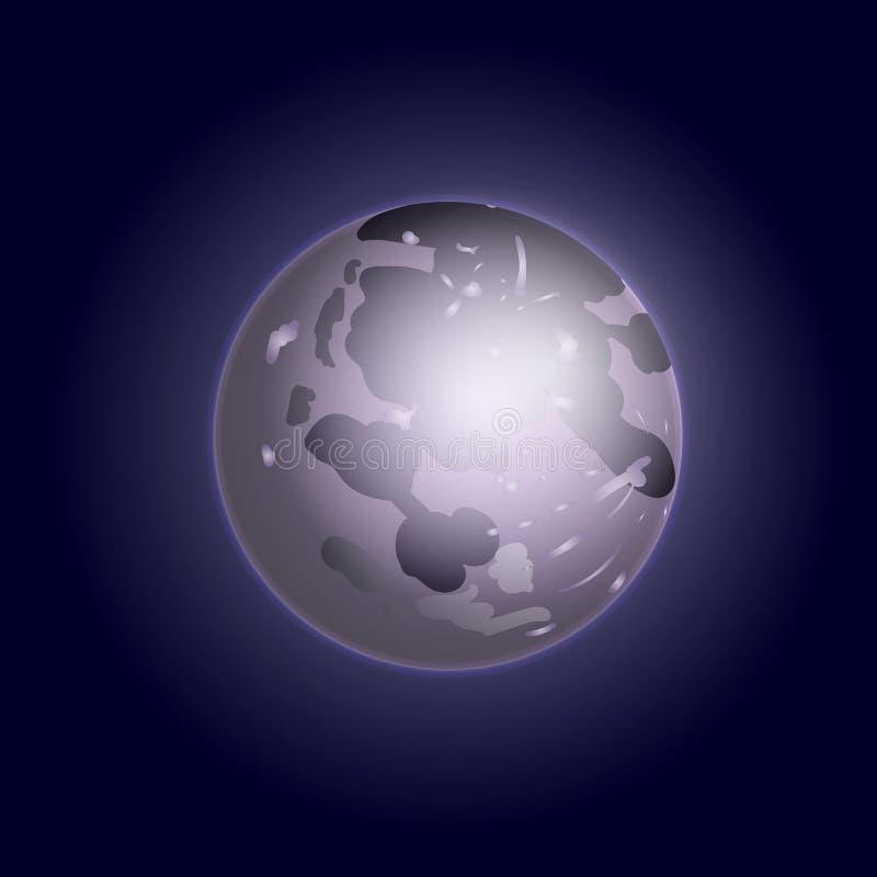 Vectorvolle maanillustratie, Zilveren Moolight stock illustratie