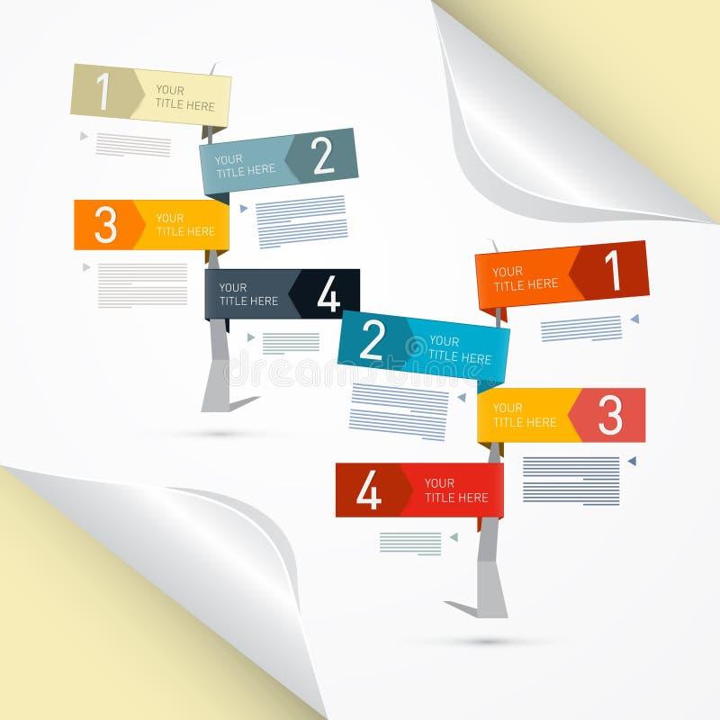 Vectorvooruitgangsstappen voor Leerprogramma, Infographics royalty-vrije illustratie