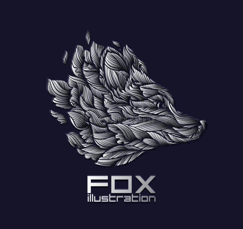 Vectorvos of Wolf Design Icon Logo Luxury-Zilver royalty-vrije stock afbeeldingen